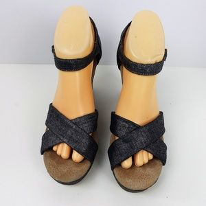 Toms Espadrille Platform Heel Leather Denim